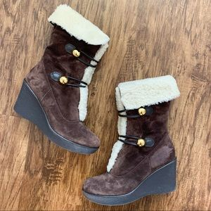 Coach Gena Shearling Brown Suede Wedge Boots sz 9